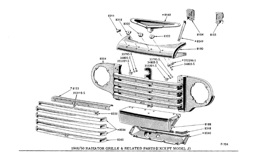 1950 ford truck sheet metal diagram