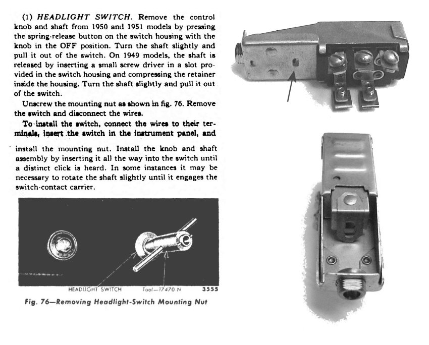 headlightswitch head light switch removal 1949 ford truck enthusiasts forums