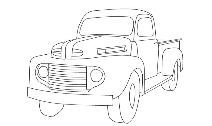 Line Drawing Truck : Line art ford box van doors free engine image for